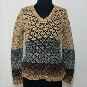 Anthro Cousin Johnny Open Knit Vneck Block Sweater